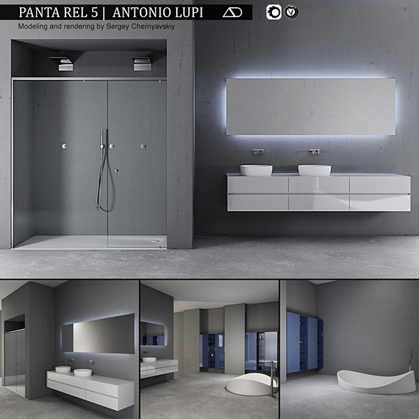 Bathroom furniture set Panta Rel 5 - 3DOcean Item for Sale
