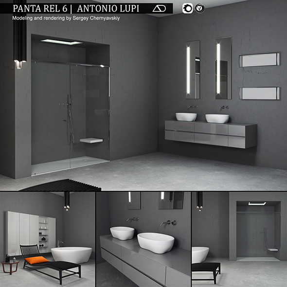 Bathroom furniture set Panta Rel 6 - 3DOcean Item for Sale