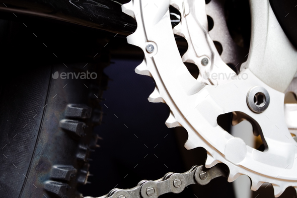 Gear and tire of mountain bike - Stock Photo - Images