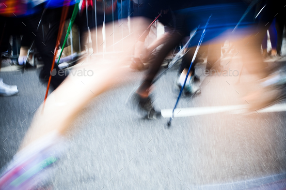 Nordic walking race in city, motion blur - Stock Photo - Images