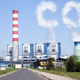 Power plant with chimney and cooling towers with CO2 clouds. Global warming concept. - PhotoDune Item for Sale