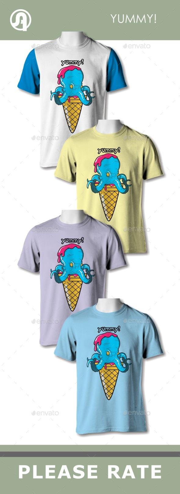 Yummy Ice Cream Octopus - T-Shirts