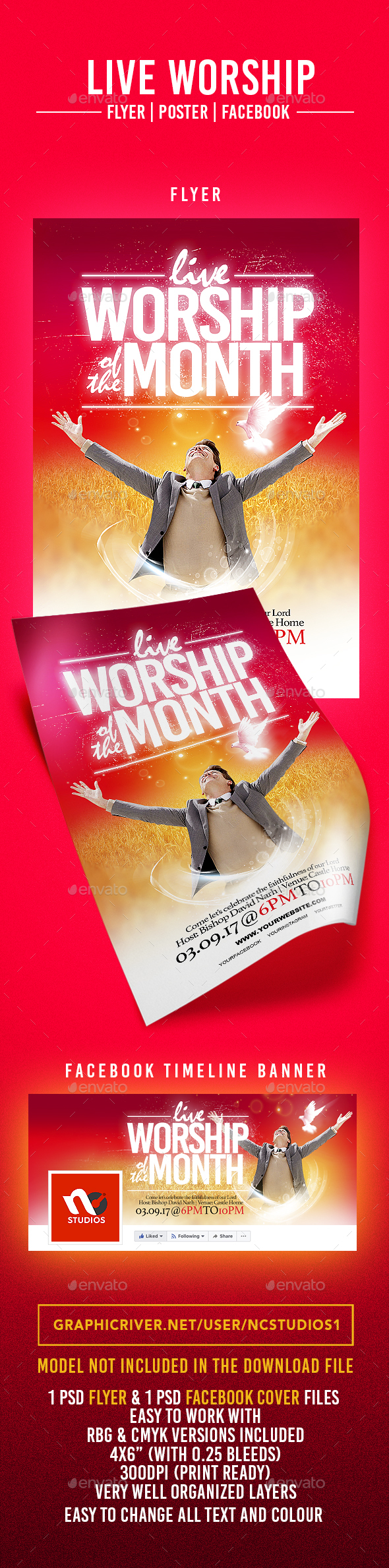 Live Worship Flyer Template - Flyers Print Templates