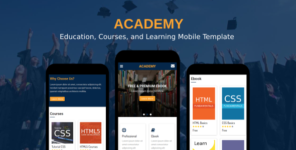 ThemeForest Academy Education Courses and Learning Mobile Template 20609999