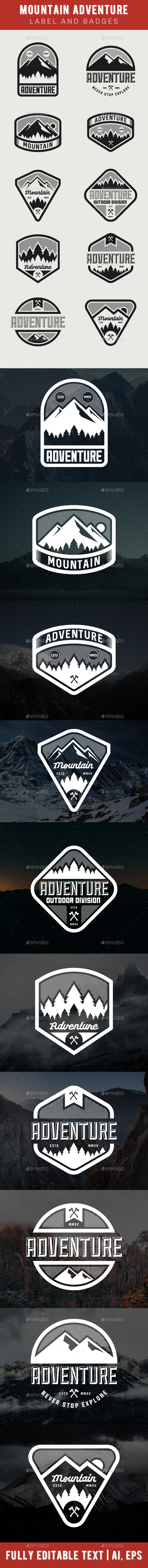 Mountain Adventure Label and Badges - Badges & Stickers Web Elements