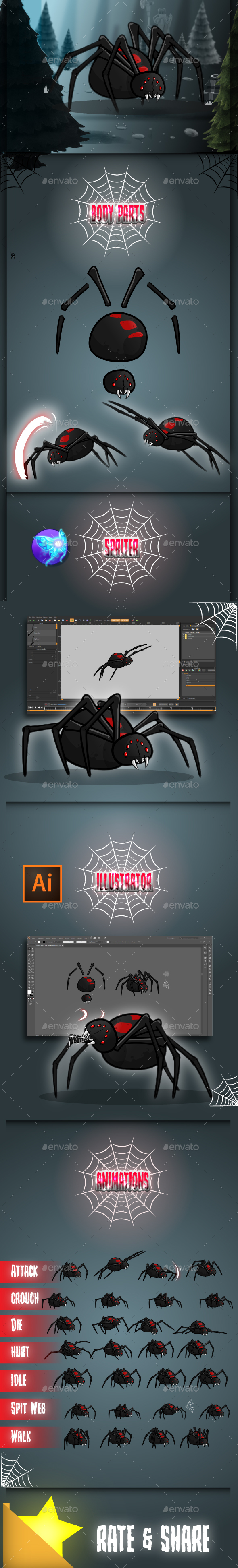 GraphicRiver Giant Black Widow Spider Game Sprites 20717228