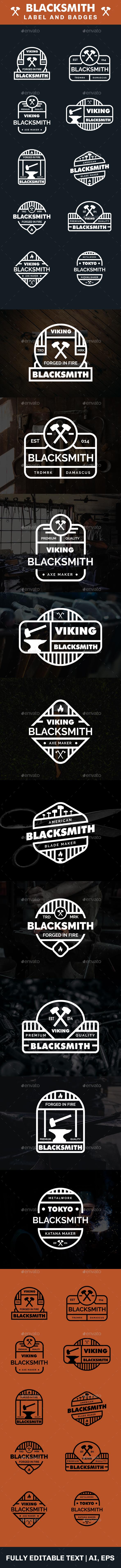 Blacksmith Logo and Badges - Badges & Stickers Web Elements