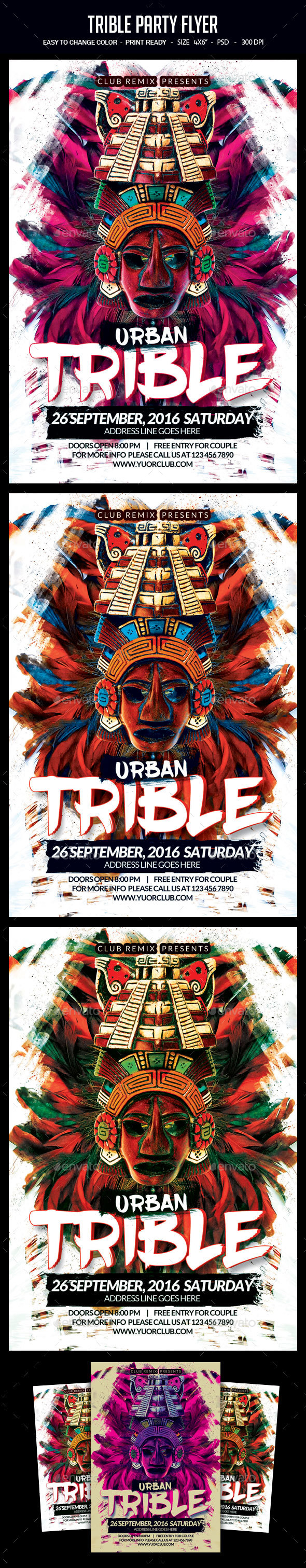 Trible Party Flyer - Clubs & Parties Events
