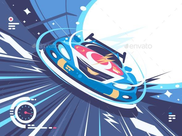 GraphicRiver Power Racing Car on Speed Track 20717616