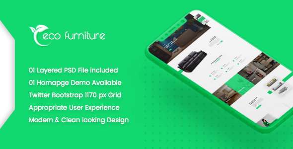 Eco Furniture - Lead Generation Landing Page PSD Template
