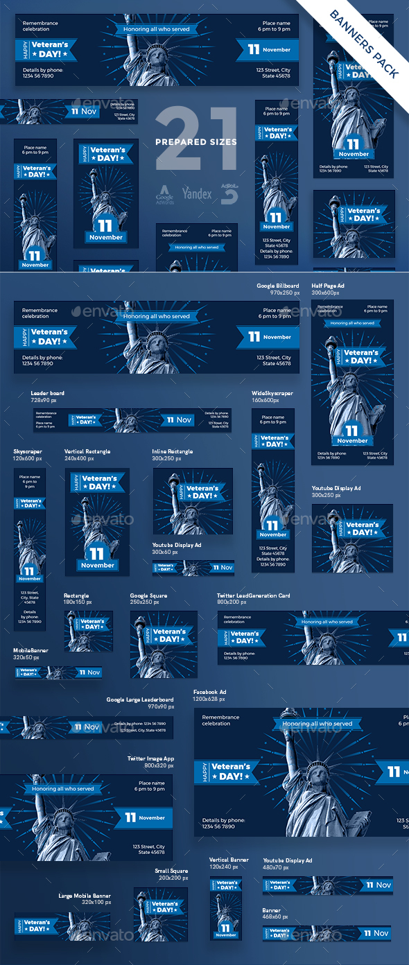 Veteran's Day Banner Pack - Banners & Ads Web Elements