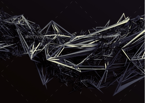 Abstract 3D Rendering of Polygonal Shape. - Abstract 3D Renders
