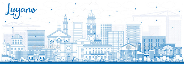Outline Lugano Switzerland Skyline with Blue Buildings. - Buildings Objects