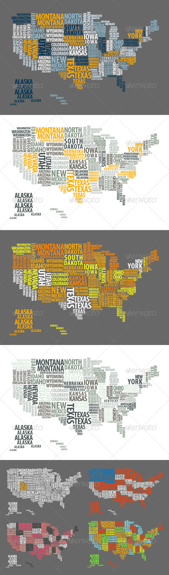 US Map Made of Words - Travel Conceptual