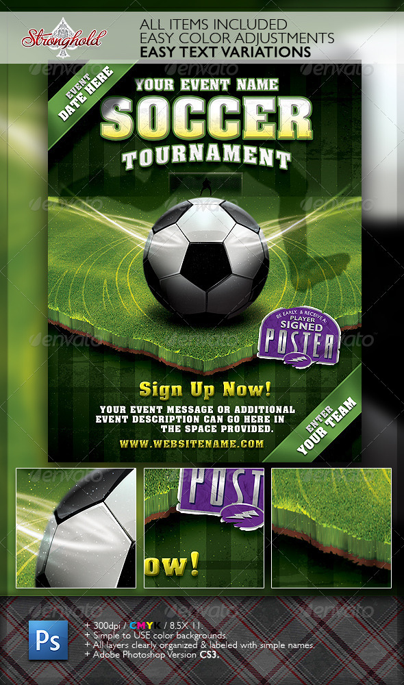 Soccer Tournament Flyer Event Template By Getstronghold Graphicriver