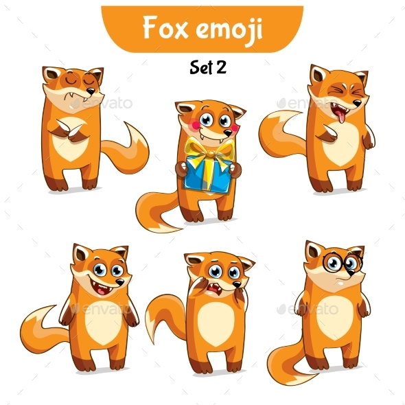 GraphicRiver Vector Set of Fox Characters Set 2 20718893