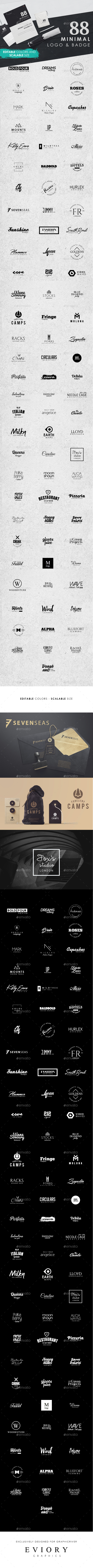 88 Minimal Logo and Badge - Badges & Stickers Web Elements