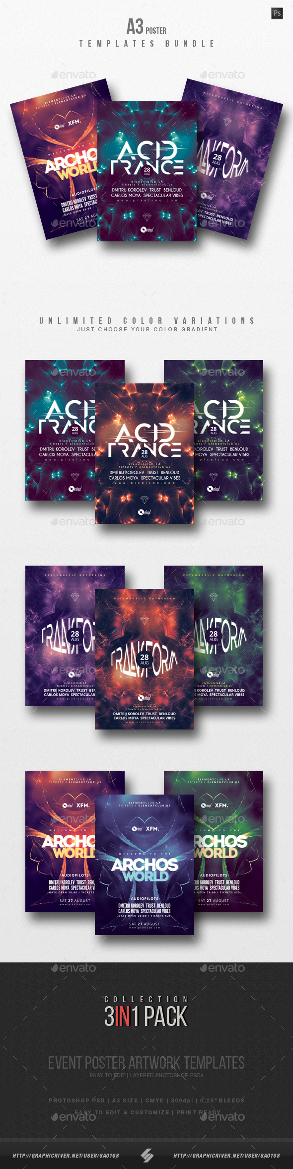 Progressive Sound vol.8 - Party Flyer / Poster Templates Bundle - Clubs & Parties Events