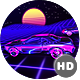 HD Synthwave Race Retrofuturistic Background