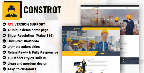 Construction - Construction Template for Architect and Construction with RTL version.