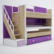 bunk bed, desk, drawer, shelf