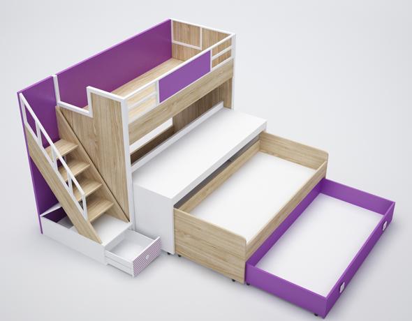 bunk bed, desk, drawer, shelf - 3DOcean Item for Sale