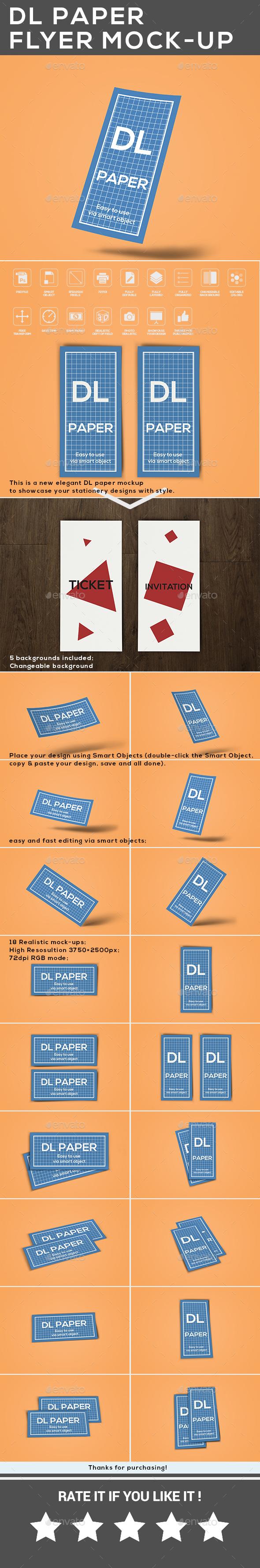 GraphicRiver DL Paper Flyer Mock-Up 20716083