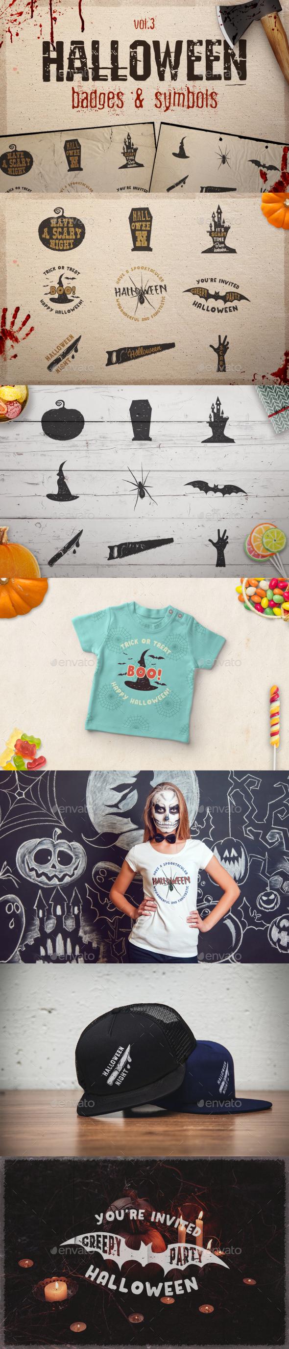 Halloween Badges Set. Vol.3 - Badges & Stickers Web Elements