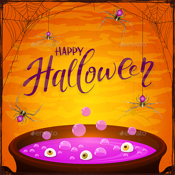 Halloween Cauldron with Purple Potion and Spiders on Orange Background - Halloween Seasons/Holidays