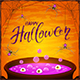 Halloween Cauldron with Purple Potion and Spiders on Orange Background
