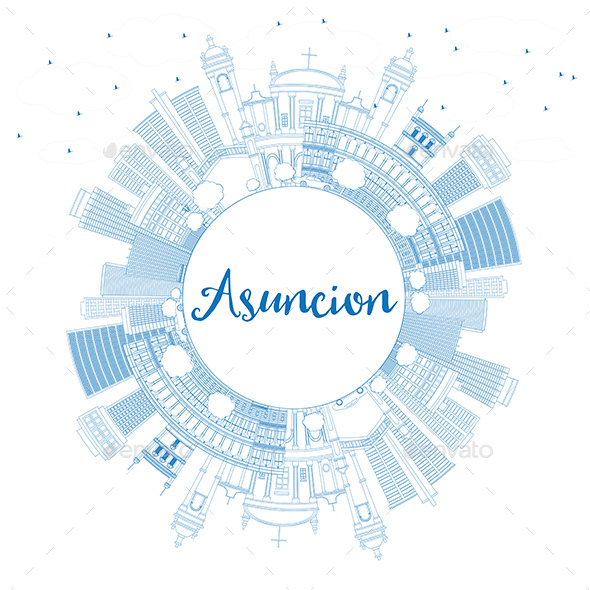 Outline Asuncion Skyline with Blue Buildings and Copy Space - Buildings Objects