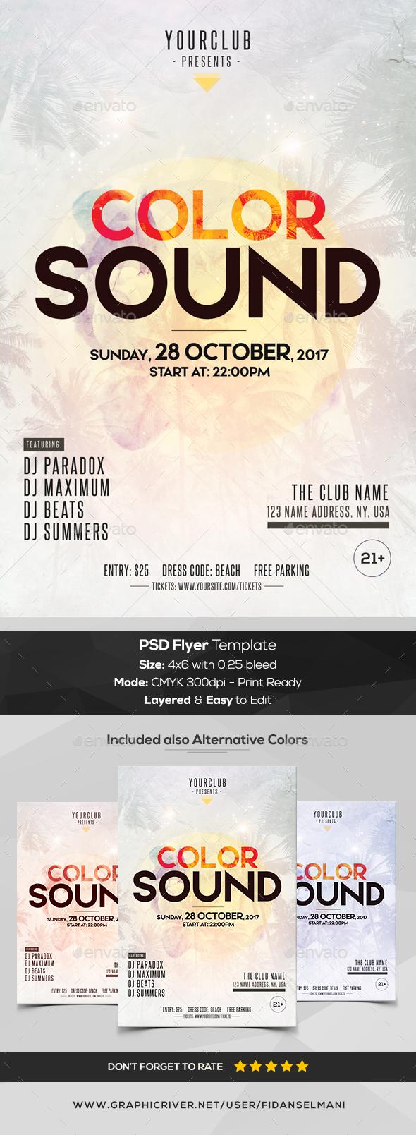 Color Sound - PSD Flyer Template - Flyers Print Templates