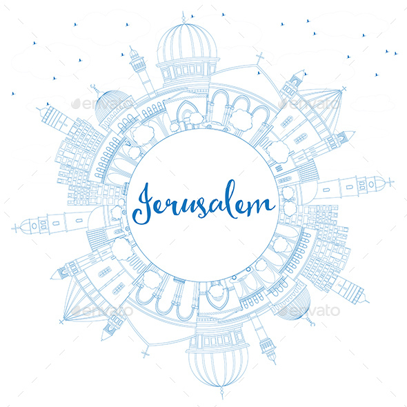 Outline Jerusalem Skyline with Blue Buildings and Copy Space - Buildings Objects