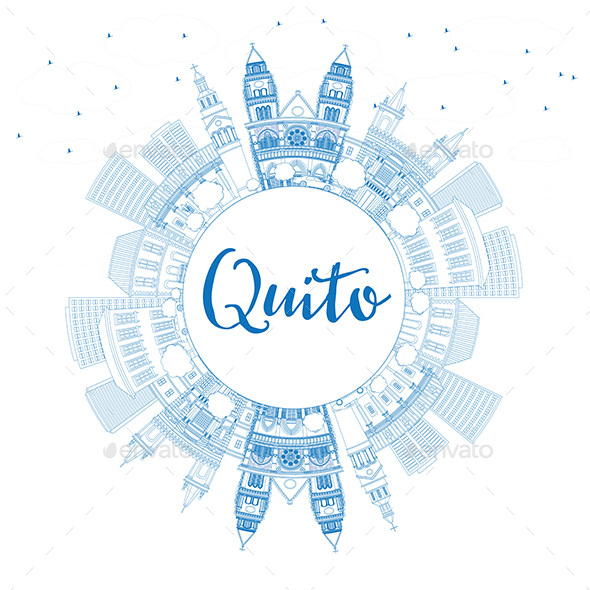 Outline Quito Skyline with Blue Buildings and Copy Space - Buildings Objects