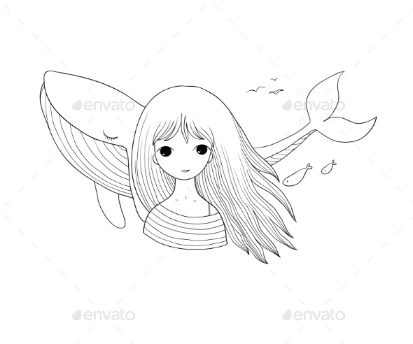 Young Girl Sailor with a Whale - Animals Characters