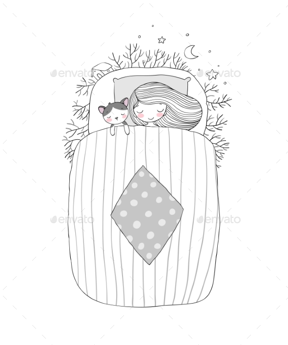 GraphicRiver Girl and a Cat Sleep in Bed 20721704