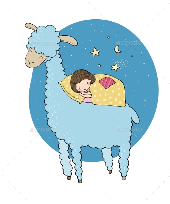GraphicRiver Sleeping Girl and a Cartoon Llama 20721713
