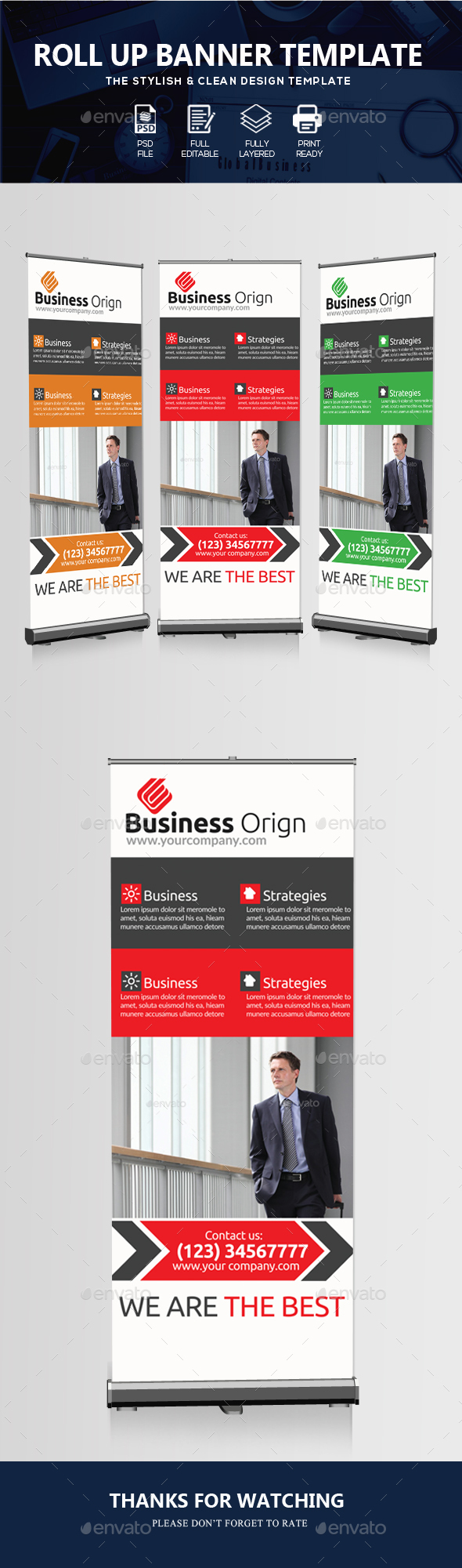 Corporate Agency Roll-up Banner - Signage Print Templates