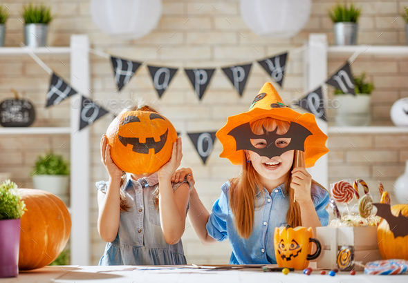 kids at halloween - Stock Photo - Images