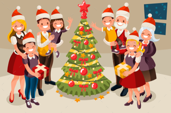 GraphicRiver Family Christmas Tree and Children 20721875