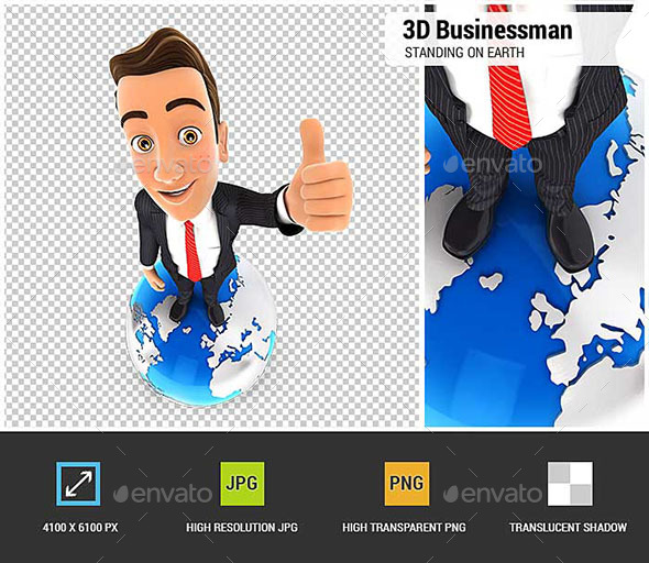 GraphicRiver 3D Businessman is Standing on Earth 20721910