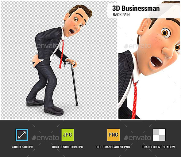 3D Businessman Suffering from Back Pain - Characters 3D Renders
