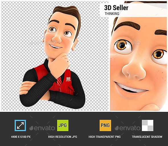3D Seller Thinking - Characters 3D Renders
