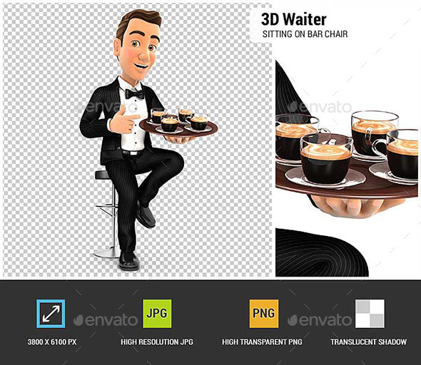 GraphicRiver 3D Waiter Sitting on Bar Chair with Cups of Coffee 20721940
