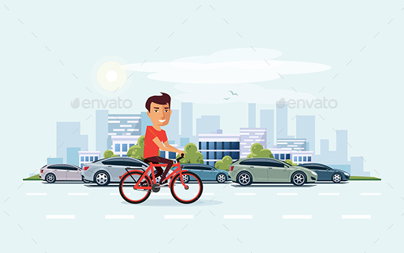 Man on Bicycle on the Street with City Skyline Background - Travel Conceptual