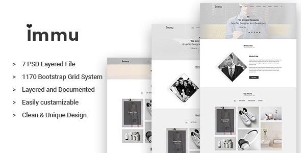 IMMU - Minimal PSD Portfolio Template - Portfolio Creative