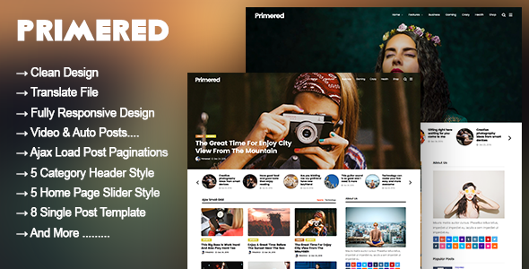 Primered - WordPress Blog Magazine Theme - News / Editorial Blog / Magazine