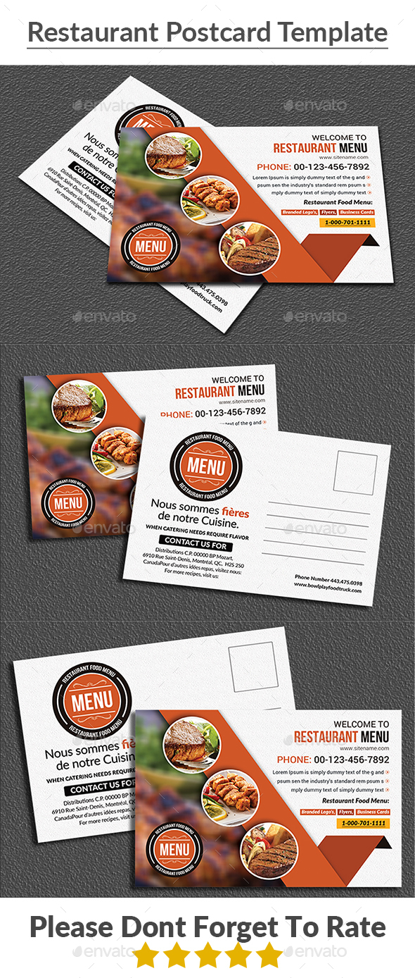 Restaurant Postcard Template - Cards & Invites Print Templates