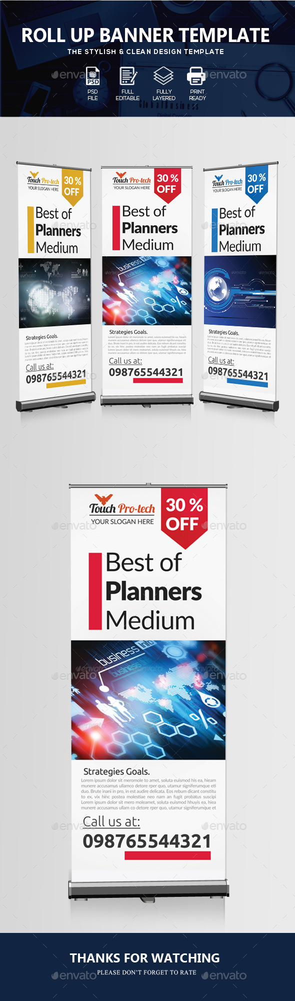 Multi Use Business Roll Up Banners - Signage Print Templates