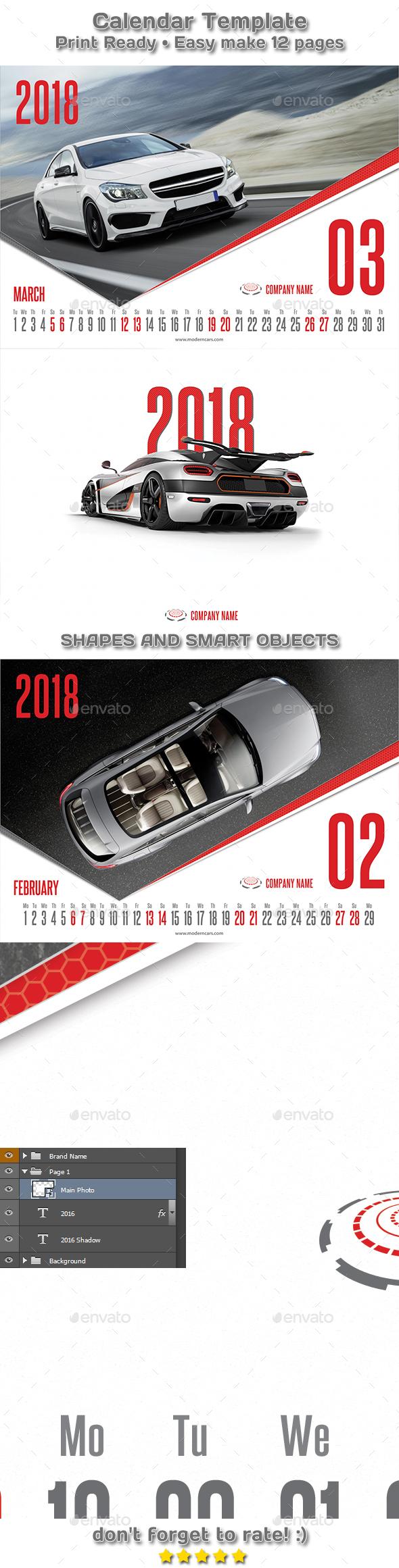 Modern Cars Calendar 2018 Template - Calendars Stationery